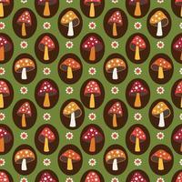 woodland svamp och tusensköna sömlösa mönster på grön bakgrund vektor