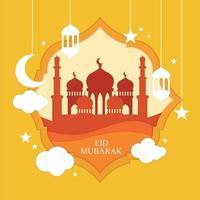 eid mubarak design i pappersskuren stil vektor