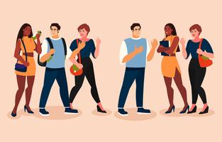 multikultureller Teenagercharakter im flachen Stil vektor