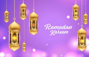 realistischer Ramadan Kareem Laternenhintergrund vektor