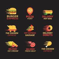 Satz Lieferung Lebensmittel Logo vektor