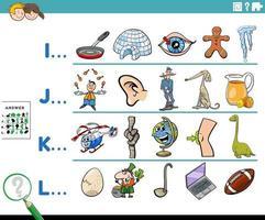 Anfangsbuchstabe eines Wortes Bildungsaufgabe für Kinder vektor