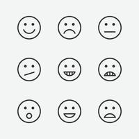 uppsättning av olika ansikte emoji vektor isolerade ikoner