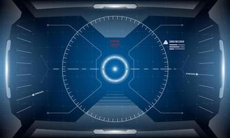 vr hud digitale futuristische Schnittstelle Cyberpunk-Bildschirm Design. Sci-Fi-Virtual-Reality-Simulator-Technologie Head-up-Display anzeigen. Hi-Tech-GUI UI Dashboard Panel Vektor-Konzept Illustration vektor