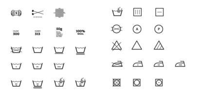 Informationen zum Waschen von Garnetiketten. Vektor Icons Stoff Merkmal, Kleidungsstücke Eigenschaftssymbole. winddicht, Wolle, wasserdicht, UV-Schutz. lineare Verschleißetiketten, Textilindustrie Kleidungspiktogramm
