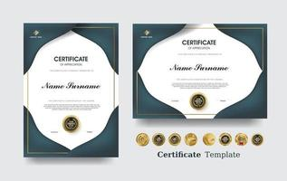 Anerkennungsurkunde Vorlage und Vektor Luxus Premium Abzeichen Design.