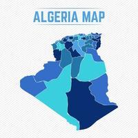 algeriet detaljerad karta med städer vektor