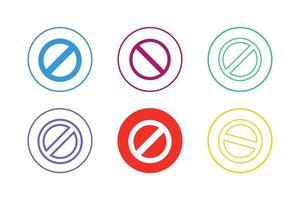buntes Verbotszeichen-Symbolsatz vektor