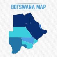 botswana detaljerad karta med städer vektor