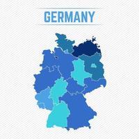 Tyskland detaljerad karta med stater vektor