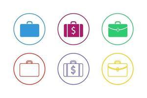 färgglada resväska Ikonuppsättning vektor