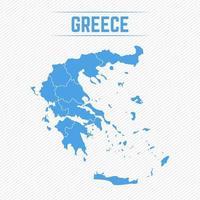 Grekland detaljerad karta med stater vektor