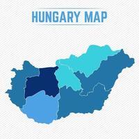 Ungern detaljerad karta med stater vektor