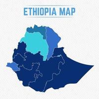 Etiopien detaljerad karta med städer vektor