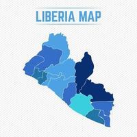 Liberia detaljerad karta med regioner vektor