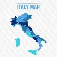 Italien detaljerad karta med stater vektor