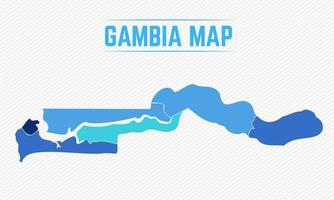 gambia detaljerad karta med städer vektor