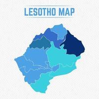 lesotho detaljerad karta med regioner vektor