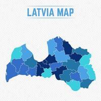 Lettland detaljerad karta med stater vektor