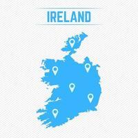 Irland einfache Karte mit Kartensymbolen vektor