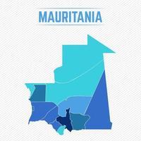 Mauretanien detaljerad karta med regioner vektor