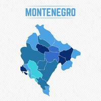 Montenegro detaljerad karta med stater vektor