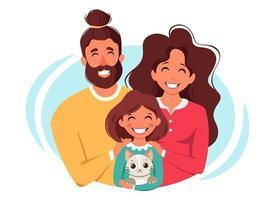 glückliche Familie mit Tochter und Katze. internationaler Tag der Familien. Vektorillustration vektor