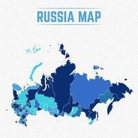 Ryssland detaljerad karta med stater vektor