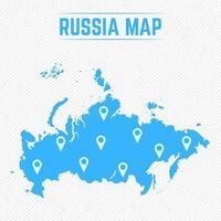 Russland einfache Karte mit Kartensymbolen vektor