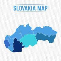 Slovakien detaljerad karta med stater vektor
