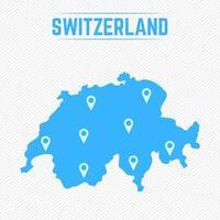 Schweiz einfache Karte mit Kartensymbolen vektor