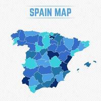 spanien detaljerad karta med stater vektor