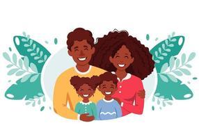 glückliche afroamerikanische Familie mit Sohn und Tochter. Eltern umarmen Kinder. Vektorillustration vektor