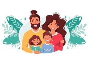 glückliche Familie mit Sohn und Tochter. Eltern umarmen Kinder. Vektorillustration vektor