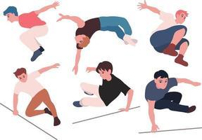människor som gör parkour. handritade illustrationer för stilvektordesign. vektor