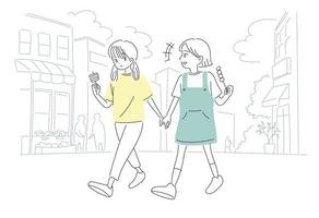 süße Mädchen essen Snacks auf der Straße. Hand gezeichnete Art Vektor-Design-Illustrationen. vektor