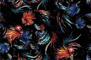nahtloses Aquarell, das Hahn gemaltes Muster kämpft vektor