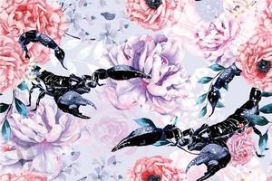 sömlösa mönster av akvarell blommande blommor med skorpioner vektor