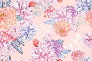 sömlösa mönster av akvarell blommande blommor med akvarell 17 vektor