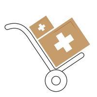 Handwagen-Symbolillustration mit medizinischer Box. flacher Designstil vektor