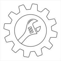 einfacher Schraubenschlüssel auf Zahnrad lokalisiert auf weißem Hintergrund. Symbol für Apps und Websites vektor