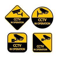 ställa in cctv-kameraetikett. svart videoövervakningstecken på vit bakgrund. vektorillustration vektor