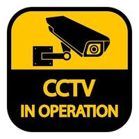 CCTV-Kamera label.black Videoüberwachungszeichen auf weißem Hintergrund.vector Illustration vektor