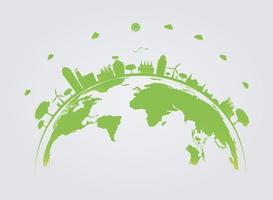 ekologi. gröna städer hjälper världen med miljövänliga konceptidéer. vektorillustration vektor