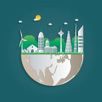 bygga ekologi. gröna städer hjälper världen med miljövänliga konceptidéer. vektorillustration vektor