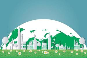 ekologi, gröna städer hjälper världen med miljövänliga konceptidéer. vektorillustration vektor