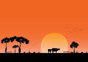 Landschaftsabendansicht des Feldes mit auf Sonnenunterganghintergrund vektor