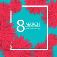 8. März. rosa Blumengrußkarte. Glücklicher Frauentag. Papierschnitt Blume blau Urlaub Hintergrund mit quadratischen Rahmen. Vektorillustration vektor
