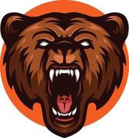 Illustration des wütenden Braunbären-Grizzlykopfmaskottchens vektor