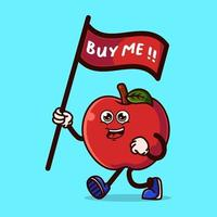 niedlicher Apfelcharakter, der eine Flagge trägt, die sagt, kauf mich vektor